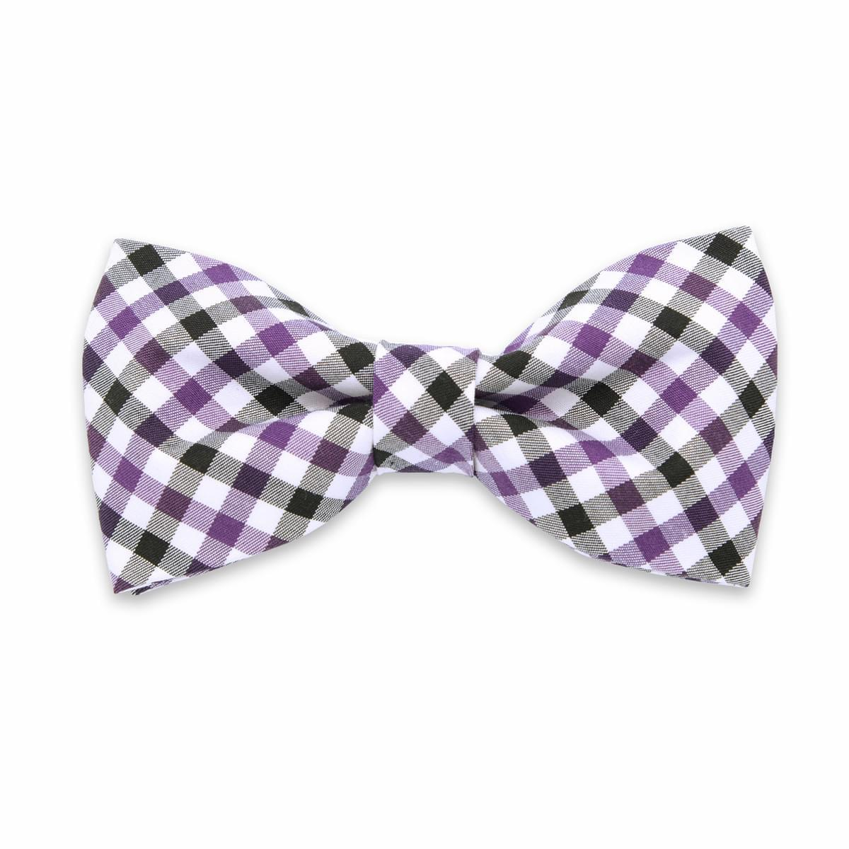 pentru bărbați tethered fluture Willsoor 6137 cu alb, negru şi violet zaruri