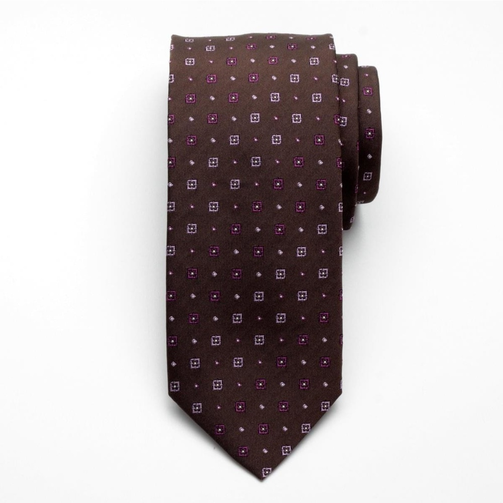 Silk tie Fine Selection 2422 with geometric pattern
