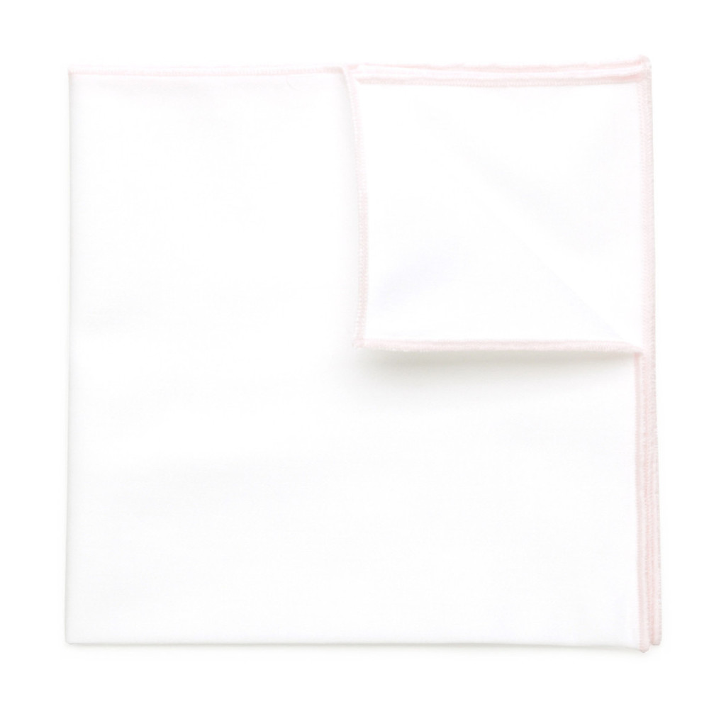 White pocket square with pink hem 9551