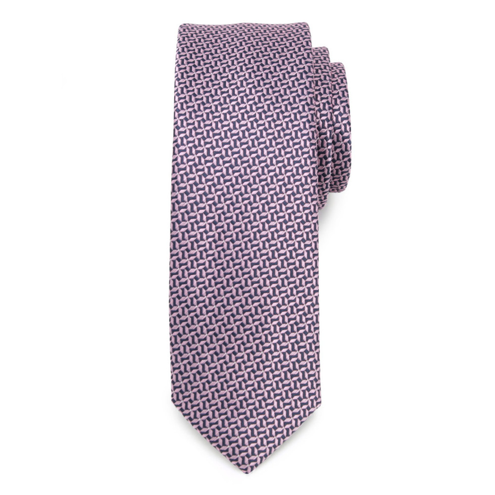 Narrow tie with dark blue and pink geometric pattern 9807
