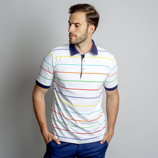 Tricou polo de damă, cu un model cu dungi colorate 10847, Willsoor