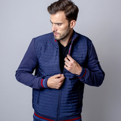 Men quilted jacket Willsoor 8486 in dark blue color