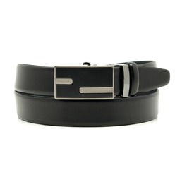 Men leather belt Willsoor 8535 in black color, Willsoor