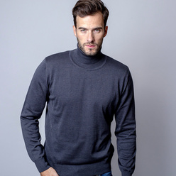 Men sweater with poloneck Willsoor 8621 in gray color