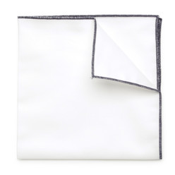 White pocket square with dark blue hem 9549