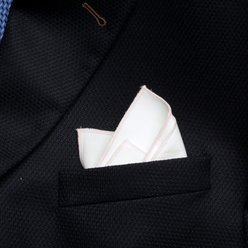 White pocket square with pink hem 9551, Willsoor