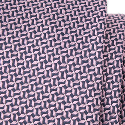 Narrow tie with dark blue and pink geometric pattern 9807, Willsoor